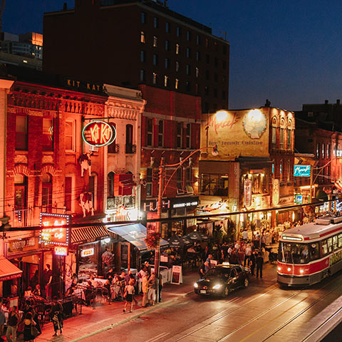Toronto's king west at night