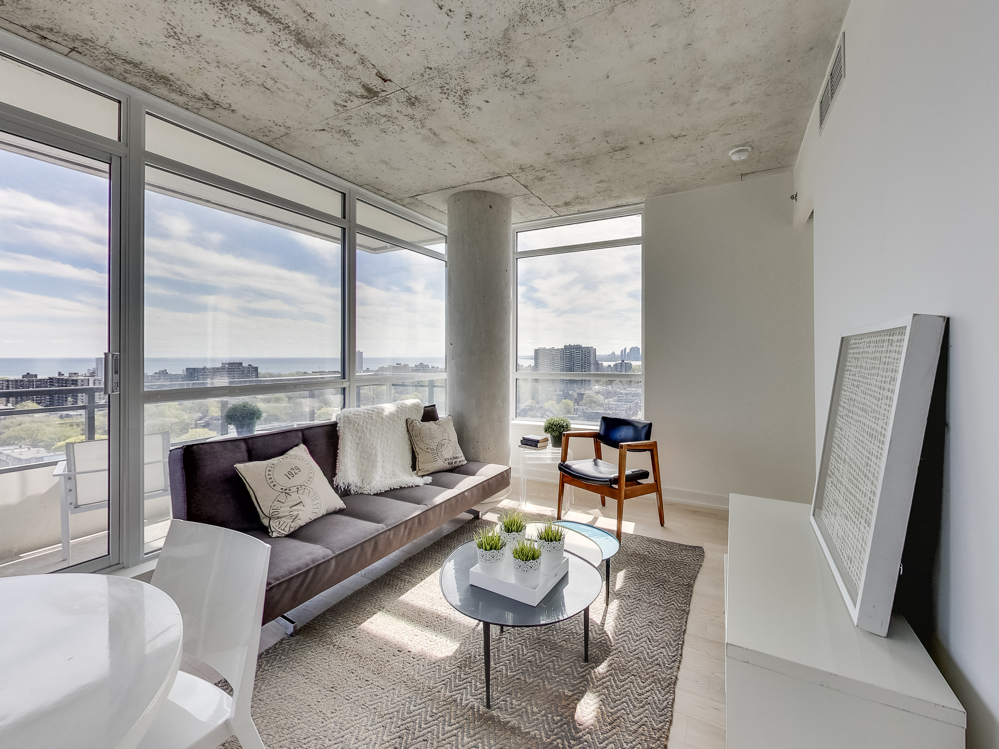 lake view condo in Toronto with modern furniture