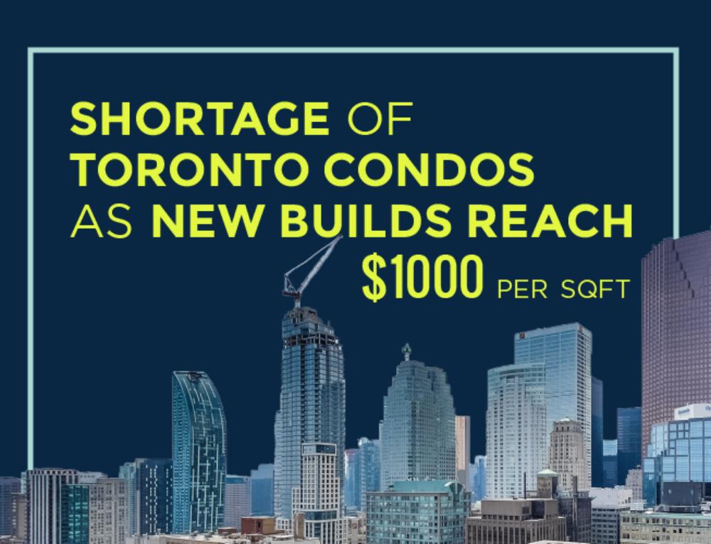 SHORTAGE OF TORONTO CONDOS AS NEW BUILDS REACH $1000/SQFT