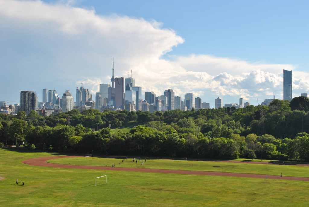 view of toronto city skyline from riverdale park
