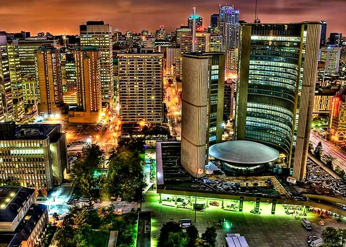 toronto's city hall at night