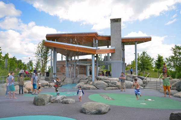 kids playing at toronto's corktown commons