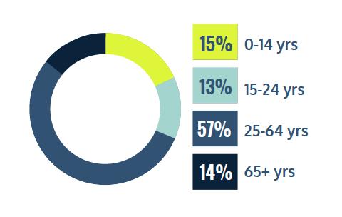 15% 0-14 years, 13% 15-24 years, 57% 25-64 years and 14% 65+ years
