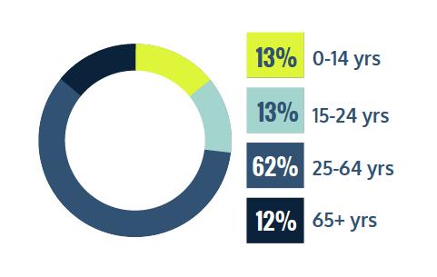 13% 0-14 years, 13% 15-24 years, 62% 25-64 years, 12% 65+ years
