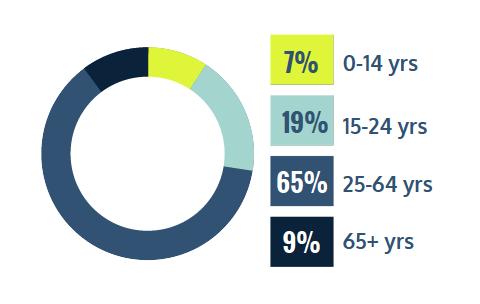 7% 0-14 years, 19% 15-24 years, 65% 25-64 years, 9% 65+ years