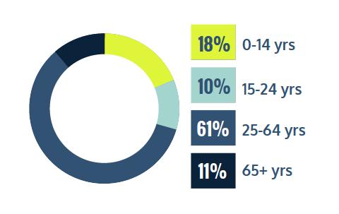 18% 0-14 years, 10% 15-24 years, 61% 25-64 years, 11% 65+ years