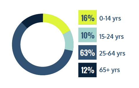 16% 0-14 years, 10% 15-24 years, 63% 25-64 years, 12% 65+ years