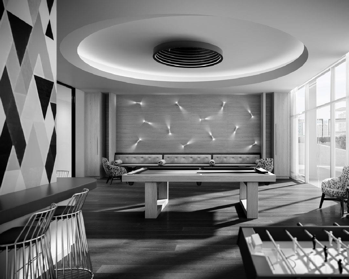 pool table at space and time condo