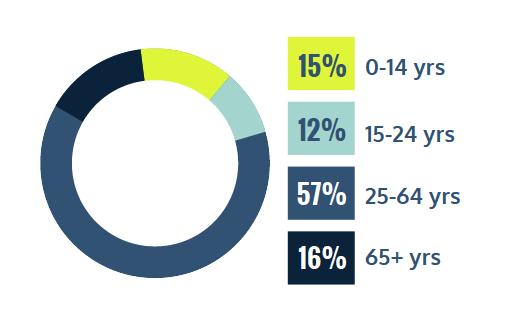 15% 0-14 years, 12% 15-24 years, 57% 25-64 years, 16% 65+ years