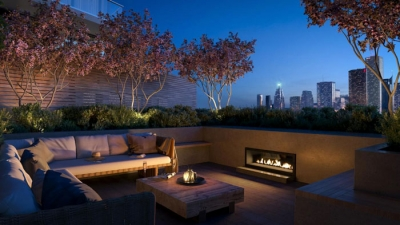 condo terrace with city view in evening