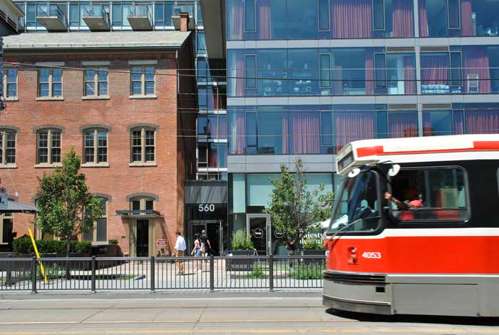 street car along king west condos