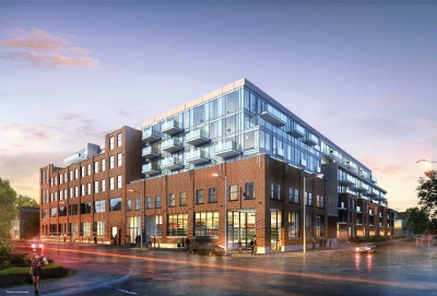 exterior view of wonder condos in leslieville