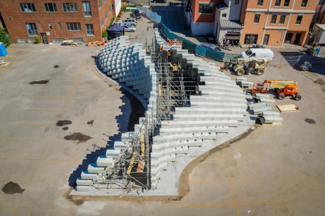 Unzipped sculpture installation