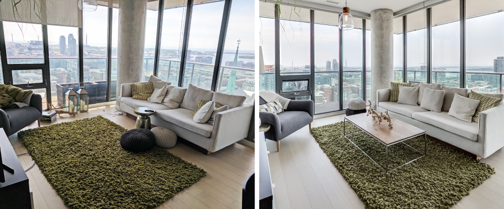 before and after images of Toronto condos with same furniture