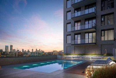 pool deck at richmond residences condos -with city view
