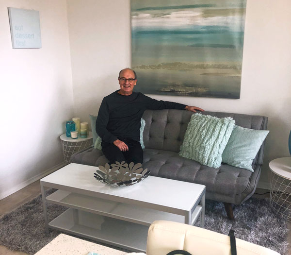 Rebecca's client Sid Gray in his new home