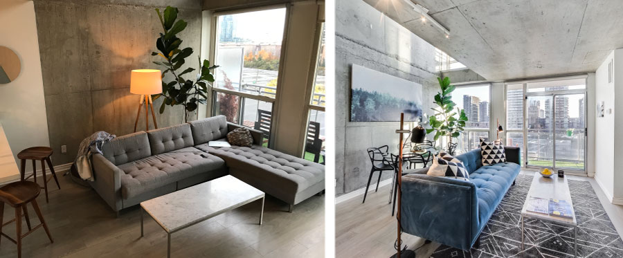 Before and After Electra Lofts Staging