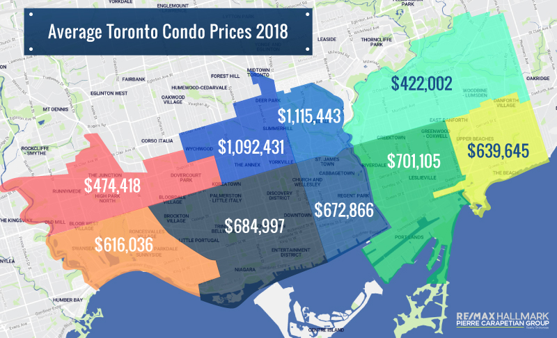 A map showing the cost to buy a condo per Toronto neighbourhood