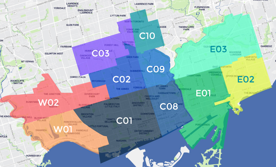 TREB municipalities map for Downtown Toronto