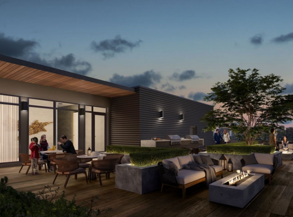 The Poet Condos Rooftop Terrace with Fire Pits