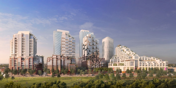 Skyline view rendering of Galleria Mall Toronto Redevelopment