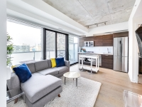 staged living space at King Charlotte condos