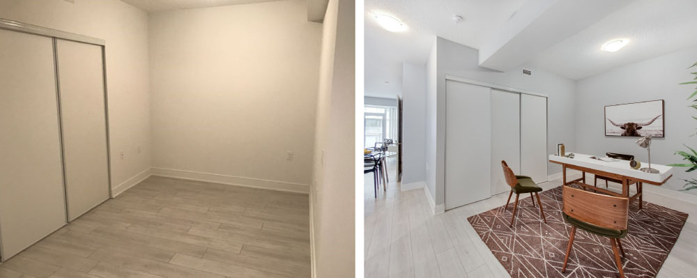 before and after staging of condo den