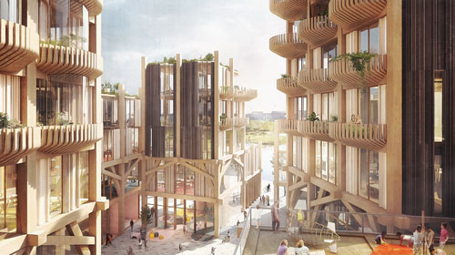 Rendering of a mass timber city for Quayside