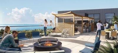 Merge Condos Rooftop Terrace overlooking lake