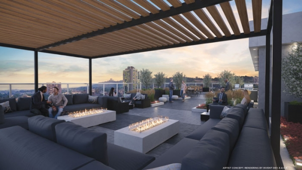 Kiwi Condos Hamilton Rooftop Terrace with fire pits