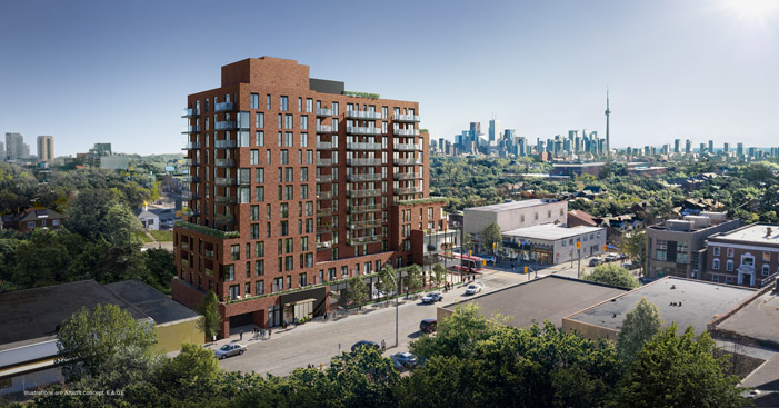 St Clair West Village Condos aerial shot
