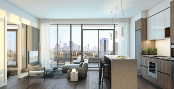 River and Fifth condos suite interior with skyline view