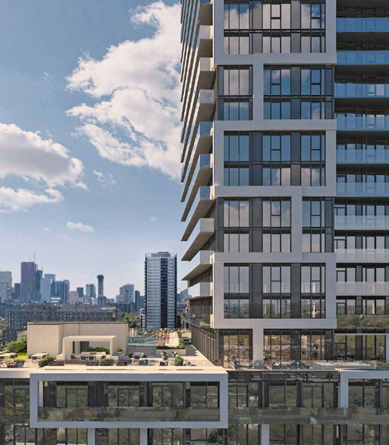 River and Fifth condos exterior with rooftop terrace