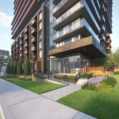 TANU Condos front entrance from outdoors