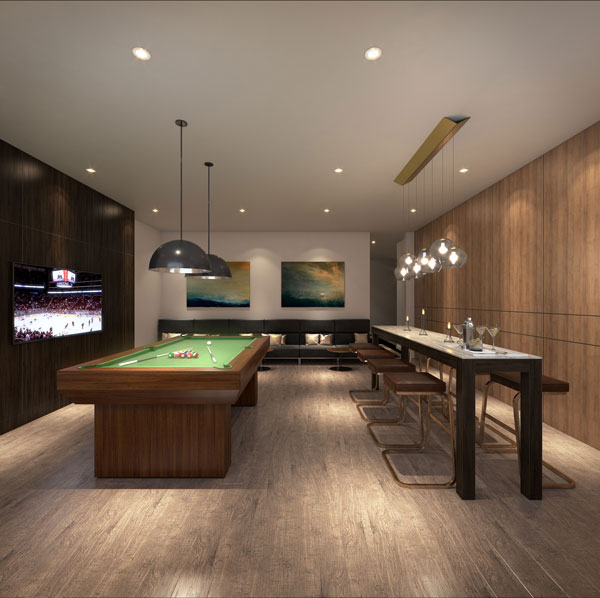 TANU Condos games room with TV