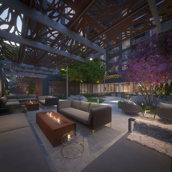 TANU Condos Outdoor Terrace with Fire pits and lounge seating