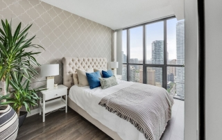 X Condominiums Staged bedroom