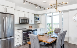 condo staging toronto dining and kitchen