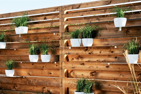 backyard fence with built-in shleves