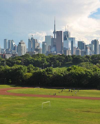 the Toronto skyline beyond Riverdale Park