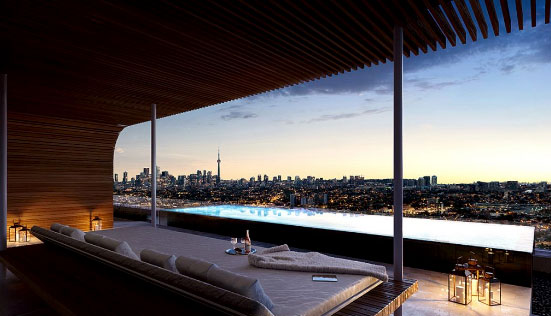 anx condos rooftop pool overlooking toronto skyline